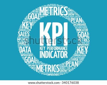 KPI - Key Performance Indicator circle word cloud, business concept background - stock vector