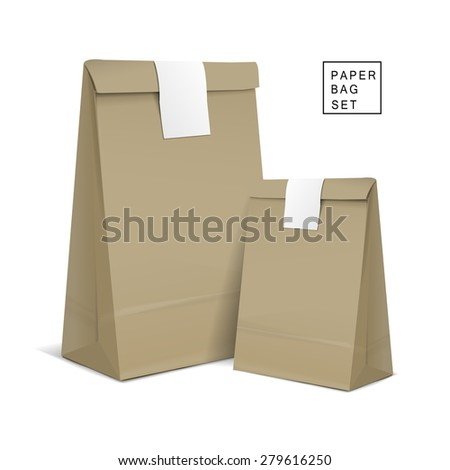 kraft paper bags with sticker isolated on white background - stock vector