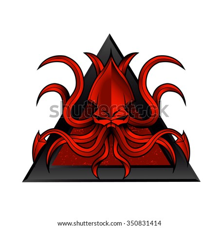 kraken illustration - stock vector