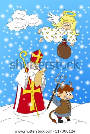 Krampus, Saint Nicholas and angel walking during the Christmas season. St. Nicholas gives gifts to good children. Devil, St.Nicholas and angel walking in winter. Angel have sack of gifts. Santa. Devil - stock vector