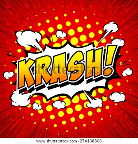 krash! - Comic Speech Bubble, Cartoon.  - stock vector
