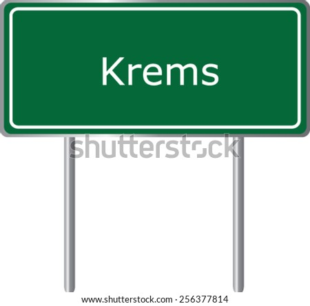 Krems, Austria, road sign green vector illustration, road table - stock vector