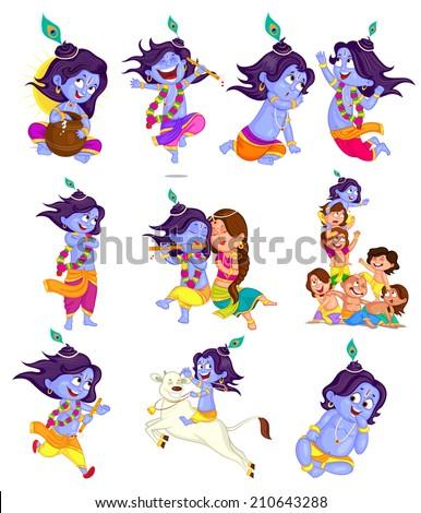 Krishna Janmashtami background in vector - stock vector
