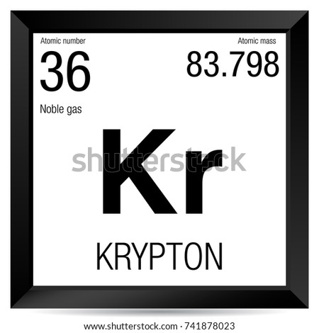 Krypton Symbol Element Number 36 Periodic Stock Vector 741878023