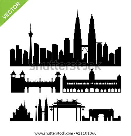 Kuala lumpur, Malaysia landmark silhouettes vector - stock vector