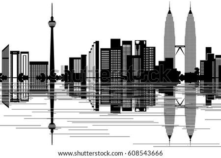 Kuala Lumpur Skyline Black White Vector Stock Vector