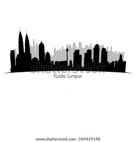 Kuala Lumpur vector skyline.  Black detailed silhouette  - stock vector