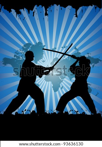 Kung fu players - stock vector
