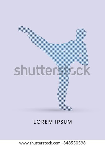 Kung fu pose, man kicking designed using dot and square graphic vector.