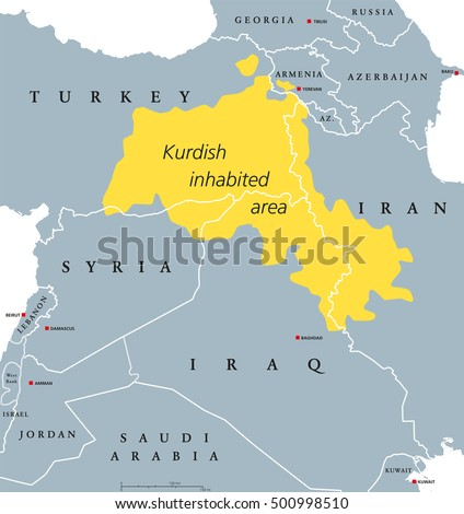 Iraqi Kurdistan Region Political Map Official Stock Vector - Georgia map in english
