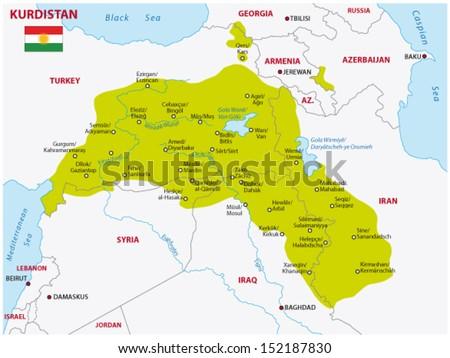 kurdistan map - stock vector