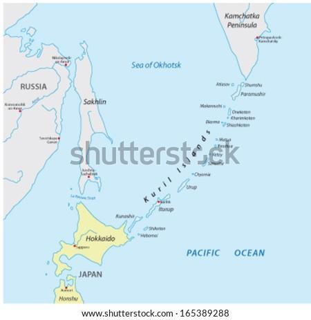 Kuril Islands Map Stock Vector (Royalty Free) 165389288 - Shutterstock