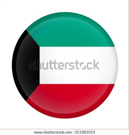 Kuwait flag Glossy Button - Vector  - stock vector