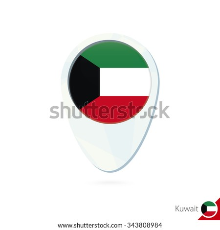 Kuwait flag location map pin icon on white background. Vector Illustration. - stock vector