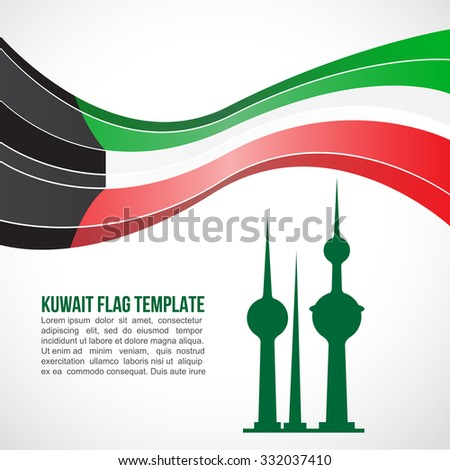 Kuwait flag wave and The Kuwait Towers - stock vector
