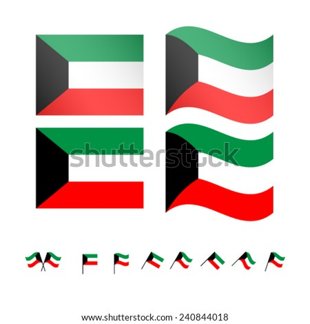 Kuwait Flags EPS10