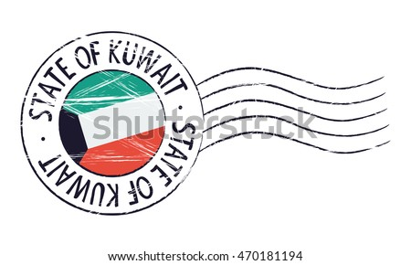 Kuwait grunge postal stamp and flag on white background