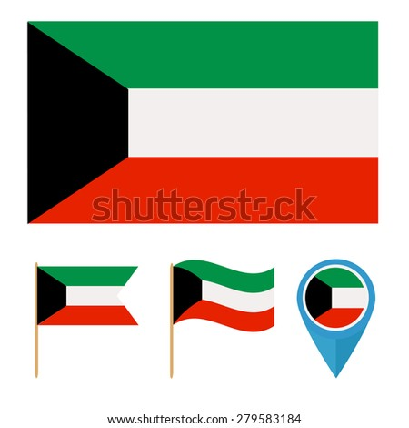 Kuwait,icons for design with reference to a particular country. flag from the same series - stock vector