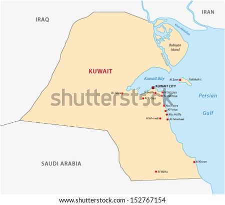 kuwait map - stock vector