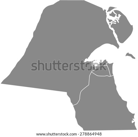Kuwait map outlines, vector map of Kuwait with boundaries/ polygons or borders of counties or states or provinces in grey color background - stock vector