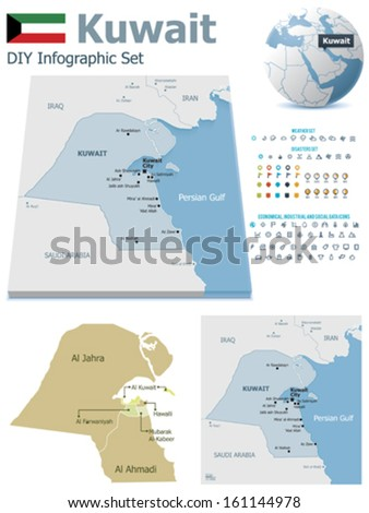Kuwait maps with markers - stock vector
