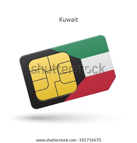 Kuwait mobile phone sim card with flag. Vector illustration. - stock vector