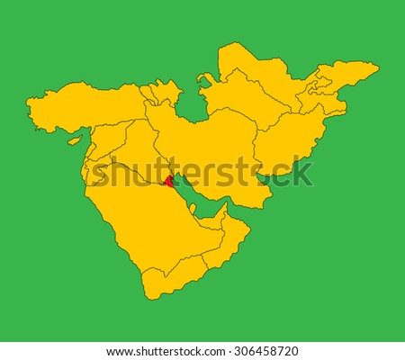 Kuwait vector map silhouette illustration isolated on Middle east vector map. - stock vector