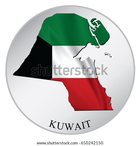 Kuwait vector sticker with flag and map label round tag with country name