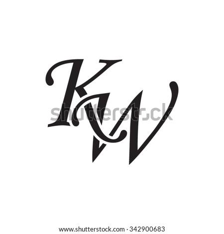kw initial monogram logo stock vector 342900683 shutterstock. Black Bedroom Furniture Sets. Home Design Ideas