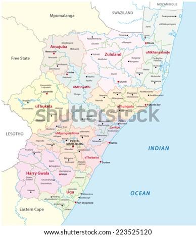 kwazulu-Natal administrative map - stock vector