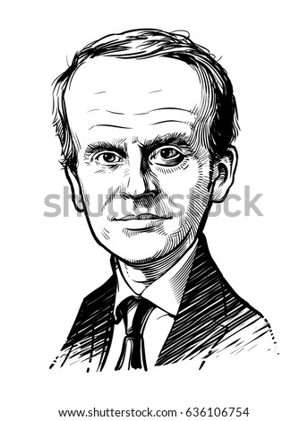 Kyiv, Ukraine -- May 9, 2017. Cartoon portrait president of France Emmanuel Macron. Hand drawn vector illustration. Editorial use only