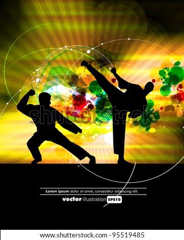 Kyokushin karate - stock vector
