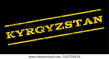 Kyrgyzstan watermark stamp. Text tag between parallel lines with grunge design style. Rubber seal stamp with dirty texture. Vector yellow color ink imprint on a blue background.