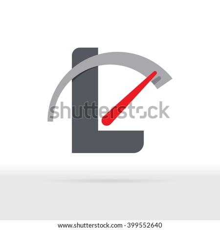 L Letter Car Speedometer, B Letter Meter Logo - stock vector