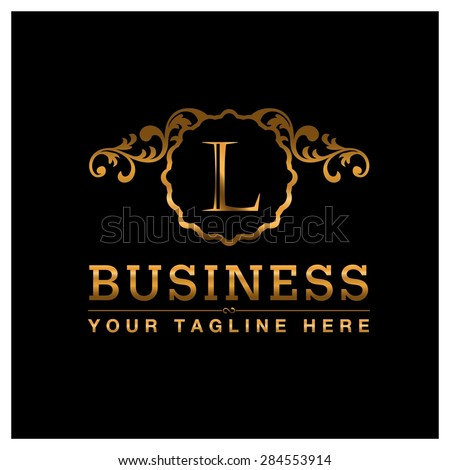 L letter Gold Luxury Logo template flourishes calligraphic elegant ornament lines. Business sign identity for Restaurant, Royalty, Cafe, Hotel, Heraldic, Jewelry, Fashion and other vector illustration