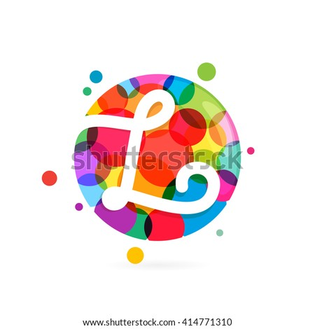 L letter logo in circle with rainbow dots. Font style, vector design template elements for your application or corporate identity. - stock vector