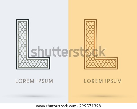 L, Luxury Font, Concept  Gold and Silver, Wire Mesh, steel, net, graphic vector. - stock vector