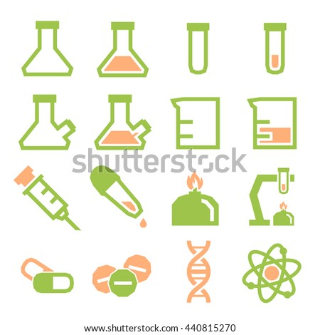 lab beakers icon set
