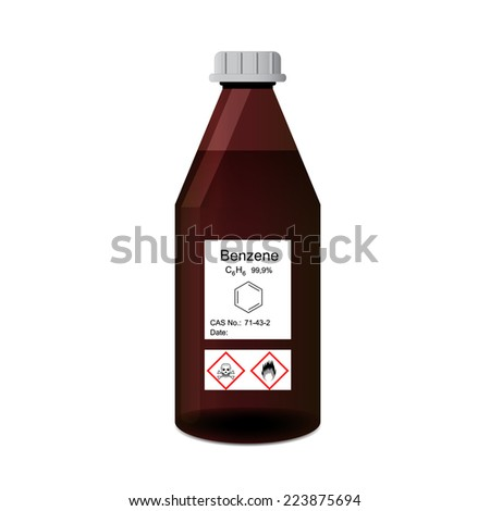 Lab bottle with chemical toxic and flammable solvent benzene 3d