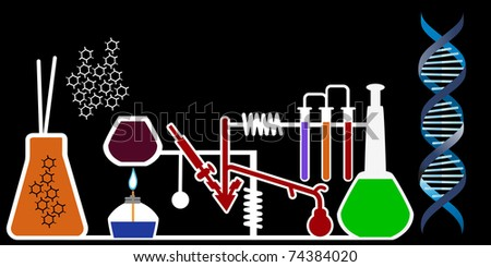 lab with dna - stock vector