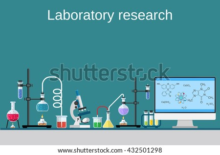 Lab worker table computer chemical research process. Pharmaceutical pharmacology science laboratory. Science, education, chemistry, experiment, laboratory concept. vector illustration in flat design - stock vector