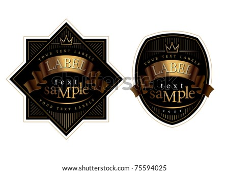 label a black background with a gold frame - stock vector
