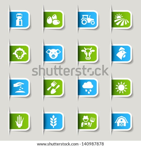 Label - Agriculture and Farming icons - stock vector