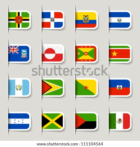 Label - American Flags - stock vector