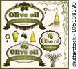 Label and elements for product olive oil - stock vector
