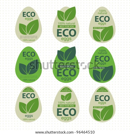 Label as a chicken egg. Ecological product - stock vector