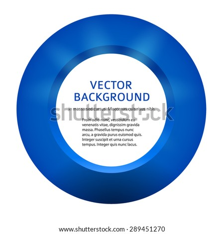 Label blank template, white background and blue 3d ring isolated. Modern design editable layout title page for new product newsletters, web banners - stock vector