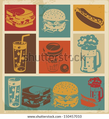 Label Cola and hamburger Icon. Fast food icon