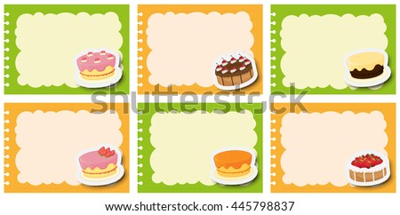 Label design with different flavor of dcakes illustration