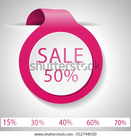 Label discount on Valentine's Day. Sale. Vector label. Pink label with space for writing - stock vector